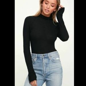 Free people black waffle knit thermal